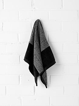 Chambray Border Hand Towel - Black