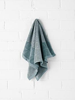Chambray Border Hand Towel - Eucalypt