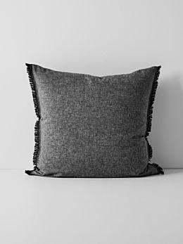 Chambray Fringe Border European Pillowcase - Black