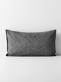 Chambray Fringe Border Standard Pillowcase - Black
