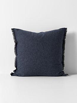 Chambray Fringe European Pillowcase - Ink