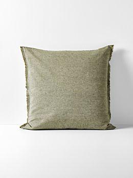 Chambray Fringe European Pillowcase - Olive