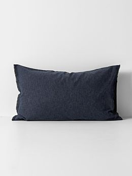 Chambray Fringe Standard Pillowcase - Ink