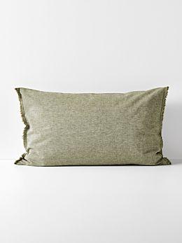 Chambray Fringe Standard Pillowcase - Olive
