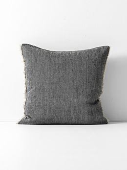 Chambray Linen Cushion - Black