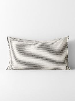 Chambray Vintage Stripe Standard Pillowcase - Black