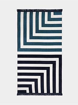 Corner Stripe Beach Towel - Indigo
