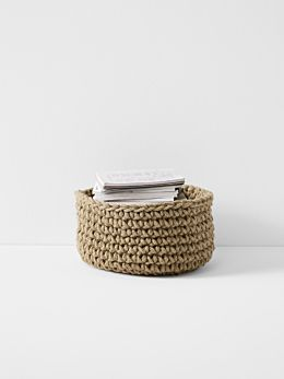 Crochet Basket - Large Low - Jute