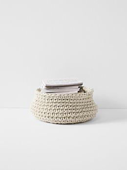 Crochet Basket - Large Low - Natural
