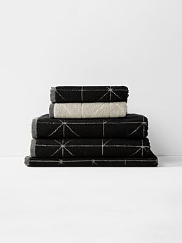 Duet Bath Towel Set - Black/Natural