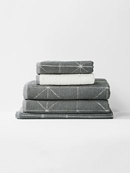 Duet Bath Towel Set - Smoke/White