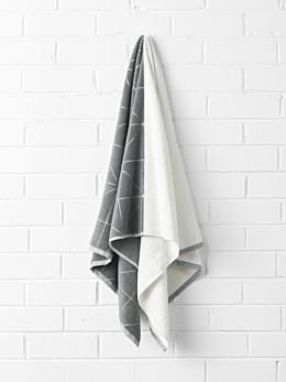 Duet Bath Towel - Smoke/White