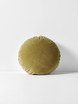 Luxury Velvet Round Cushion - Olive