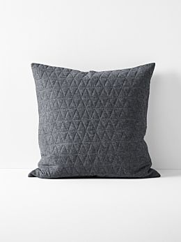 Chambray Quilted European Pillowcase in Greystone