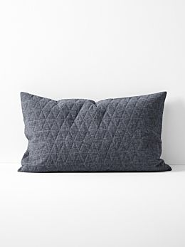 Chambray Quilted Standard Pillowcase - Greystone