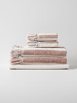 Stripe Bath Towel Set - Blush