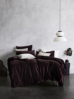 Luxury Velvet Quilt Cover - Fig