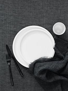 Vintage Linen Tablecloth - Charcoal