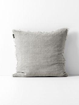 Vintage Linen Fringe Cushion - Mink