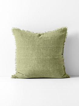 Vintage Linen Fringe Cushion - Willow