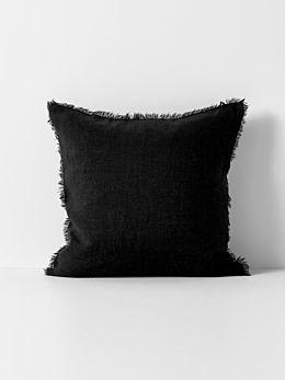 Vintage Linen Fringe Cushion - Black