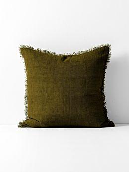 Vintage Linen Fringe Cushion - Khaki