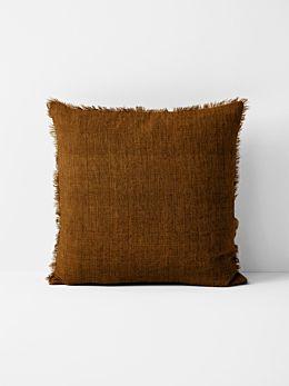 Vintage Linen Fringe Cushion - Tobacco