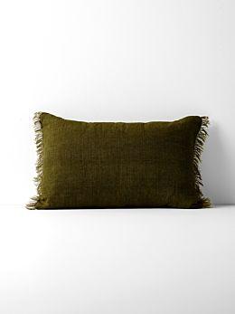 Vintage Linen Fringe Rectangle Cushion - Khaki