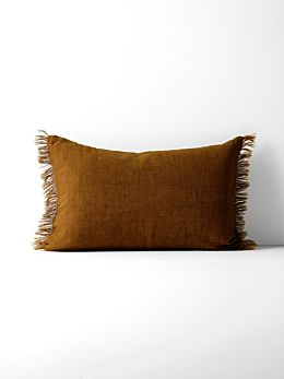 Vintage Linen Fringe Rectangle Cushion - Tobacco