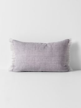 Vintage Linen Fringe Rectangle Cushion - Iris