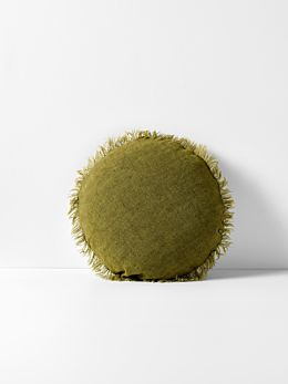 Vintage Linen Fringe Round Cushion - Olive
