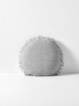 Vintage Linen Fringe Round Cushion - Smoke