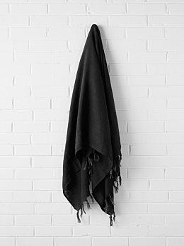 Vintage Linen Fringe Throw - Black