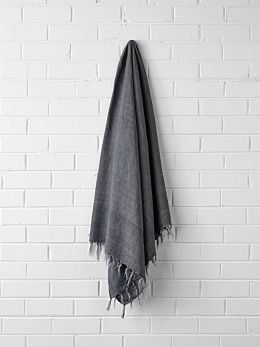 Vintage Linen Fringe Throw - Charcoal