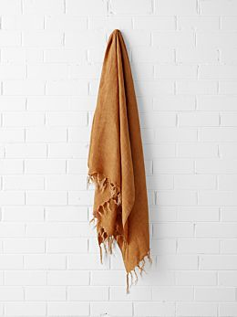 Vintage Linen Fringe Throw - Cinnamon