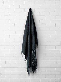 Vintage Linen Fringe Throw - Slate
