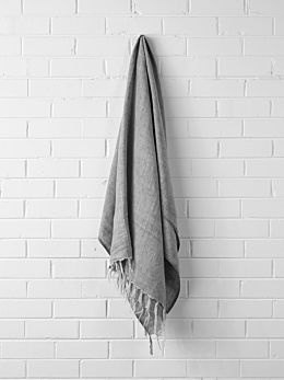 Vintage Linen Fringe Throw - Smoke