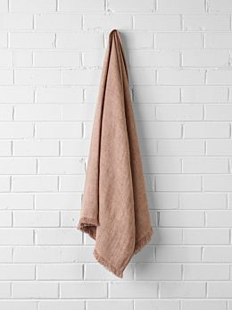 Vintage Linen Throw - Clay