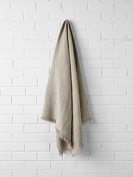 Vintage Linen Throw - Natural