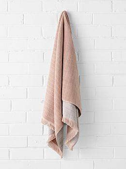 Vintage Stripe Bath Sheet - Pink Clay