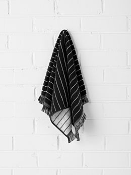Vintage Stripe Hand Towel - Black