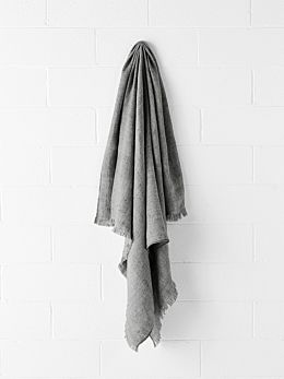 Vintage Linen Throw - Smoke