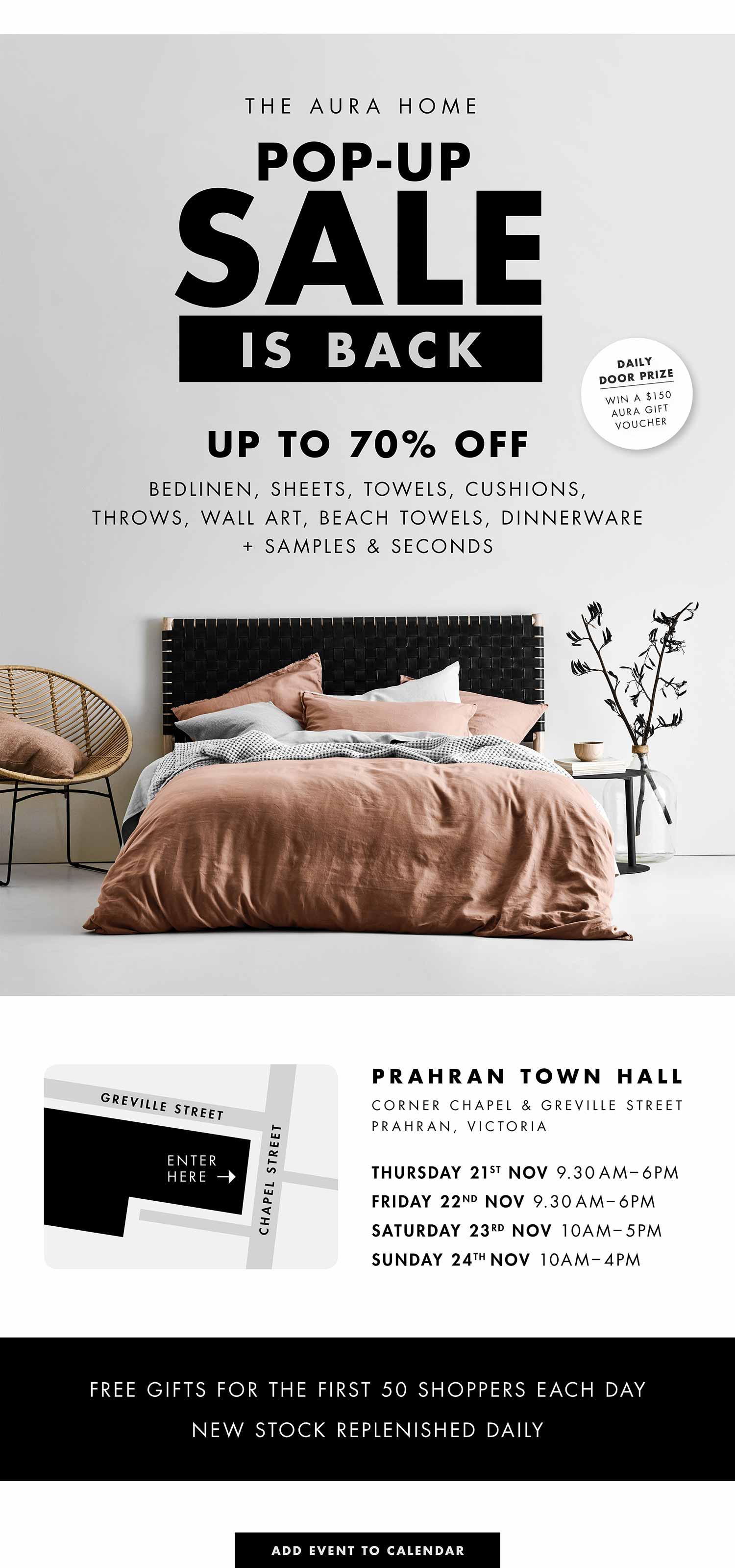 Aura Home Pop-Up Sale Prahran Town Hall May 24 – 26